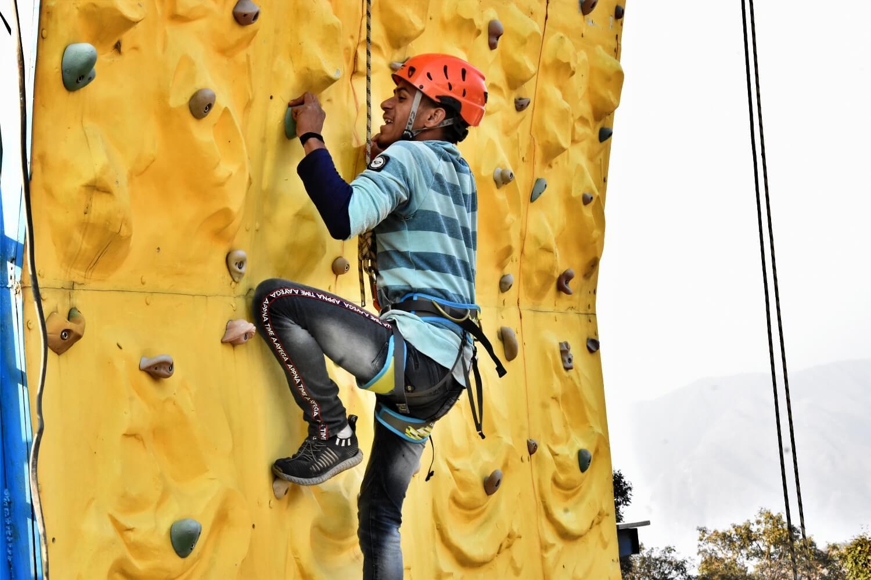 Wall climbing activities at Mussoorie Adventure Resort
